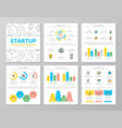 set colored startup and business elements vector image vector image