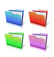 set colorful transparent folder with papers vector image