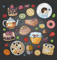 set different elements for breakfast morning vector image