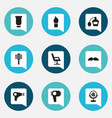 set of 9 editable barbershop icons includes vector image vector image