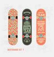 Set of retro vintage badges on a skateboard vector image vector image