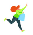 shopping buyer runs with bags in hands vector image