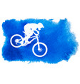 silhouette of a cyclist riding a mountain bike vector image vector image