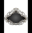 Silver frame with heraldry and decor of beads and vector image
