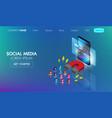 social media marketing isometric web bannermagnet vector image vector image