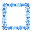 square winter frame of snowflakes isolated vector image vector image