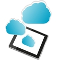 Tablet PC with cloud of application icons isolated vector image vector image