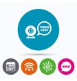 Video chat sign icon Webcam video speech bubble vector image