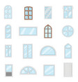 window design types icons set cartoon style vector image vector image