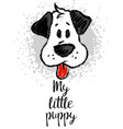 with cute cartoon sketch dog vector image vector image