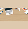 work from home with wooden table and small office vector image