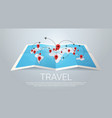world map earth with pins travel concept vector image vector image