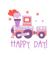 cute cartoon toy train happy day colorful vector image