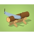Low poly work bench with the log and handsaw vector image