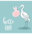 Baby arrival card with stork vector image