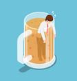 isometric drunk businessman in beer mug vector image