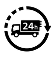 24 hour delivery symbol with truck vector image vector image
