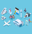 airport isometric passenger luggage airport vector image
