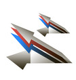 arrows in the form of cruise missiles blue red vector image vector image