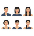 asian womans with various hairstyle vector image vector image