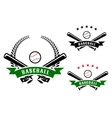 Baseball emblems with crossed bats vector image