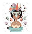 beautiful woman carnival character vector image