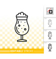 beer mug simple black line tall glass icon vector image vector image