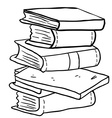 black and white pile of books vector image vector image