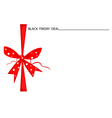 Black Friday Gift Card with Red Ribbon vector image