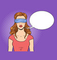 blindfolded girl pop art vector image vector image