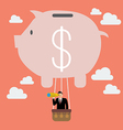 Businessman in piggy bank balloon search to vector image