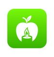candle apple icon green vector image vector image