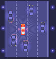 car with scaning on road vector image vector image