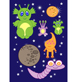 Cartoon cute monsters space of astronauts aliens vector image vector image