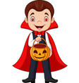 cartoon vampire holding pumpkin basket vector image vector image