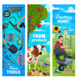 cattle farm farmer tools and farming products vector image vector image