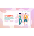 cheerful students or pupils characters cartoon vector image vector image