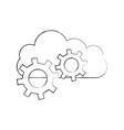 cloud computing with gears vector image vector image