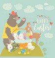 cute bearhappy rabbits and little deer vector image vector image