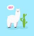 cute cartoon lama doodle character vector image vector image