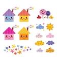 cute houses kids design elements set vector image vector image