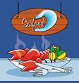 delicious locust sea food vector image vector image