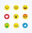 flat design style social media reactions emoticon vector image vector image
