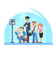 group of diverse people waiting for the bus while vector image vector image