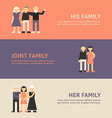 His Family Joint Family and Her Family Flat Design vector image vector image