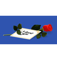 I love you card and a red rose vector image