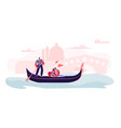 loving couple sitting in gondola with gondolier vector image vector image