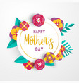 mother day 3d paper flower greeting card template vector image vector image