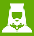 orthodox priest icon green vector image vector image