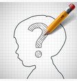 pencil drawing a question mark in the child head vector image